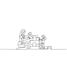 single continuous line drawing young mother vector image