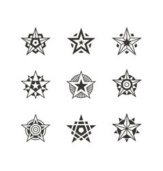 star icon and logo set vector image