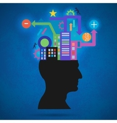 The creative concept silhouette of the head brain vector image