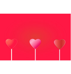 three hearts on a red background valentines day vector image