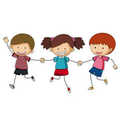 Three kids holding hands vector