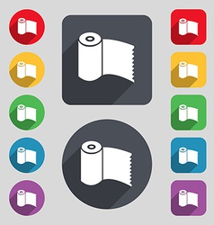 Toilet paper WC roll icon sign A set of 12 colored vector