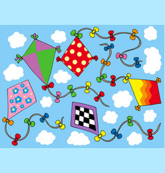 Various kites flying on sky vector