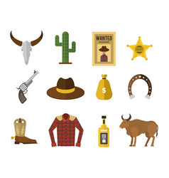 Wild west cowboy icons rodeo equipment and many vector