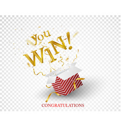 win text explosion on red box and gold confetti vector image