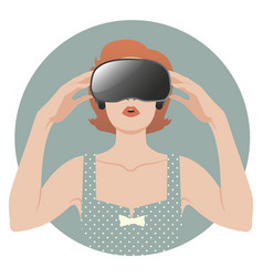 woman wearing virtual reality glasses-02 vector image