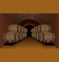 Wooden barrels in the wine cellar vector