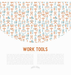 Work tools concept with thin line icons vector