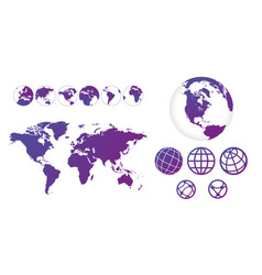 world map with set of globes linear icons and vector image