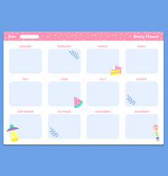 Yearly planner template organizer year calendar vector