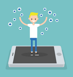 Young successful boy standing on mobile screen vector
