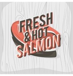 Creative logo design with salmon steak vector image vector image