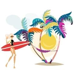 Cute surf girl on the beach vector image