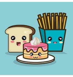 Fast food cartoon cake bread and fries design vector