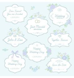 floral wedding labels vector image vector image