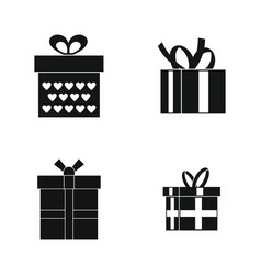gift box icon set simple style vector image