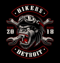 Gorilla biker with crossed wrenches vector