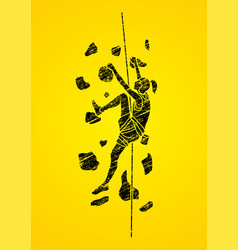 woman climbing on the wall girl climber the cliff vector image