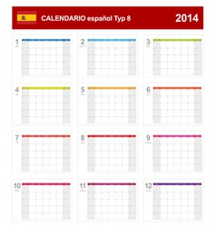 Calendar 2014 Spain Type 8 vector image