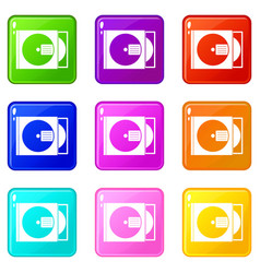 Cd box with disc icons 9 set vector