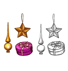 Christmas tree ornaments gifts sketch vector