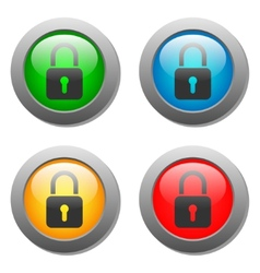 Closed lock icon on glass button set vector image vector image