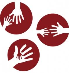 kids hands together vector image vector image
