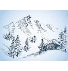 Nature in the mountains sketch winter landscape vector