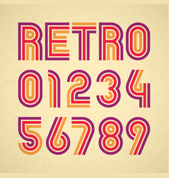 retro style alphabet numbers vector image vector image