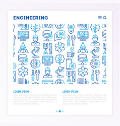 engineering concept with thin line icons vector image