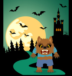 Halloween background with werewolf and full moon vector