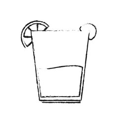 blurred silhouette glass cup of cocktail with vector image