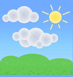 peaceful land with clouds and sun optimistic vector image