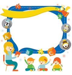 Teacher teach Kids with Icons Frame vector image vector image