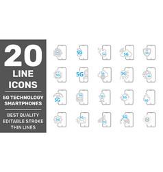 5g technology in smartphones minimal set vector image