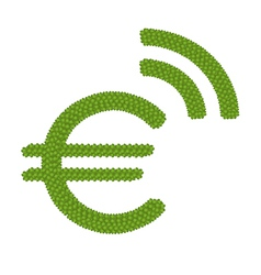 A Four Leaf Clover of Euro Symbol with RSS Sign vector