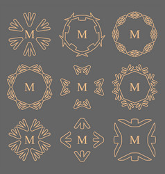 Abstract arrow line frame monogram logos set vector