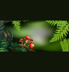 Background scene with mushrooms in forest vector