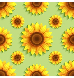 Background seamless pattern with sunflowers vector