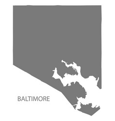 Baltimore maryland city map grey silhouette shape vector