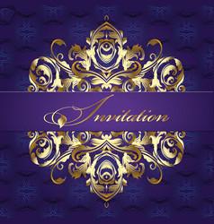 Baroque style pattern vintage invitation design vector