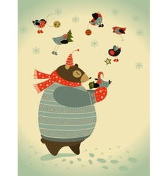 Bear and birds celebrate Christmas vector image