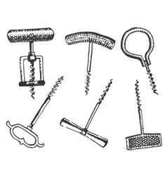 big set corkscrew in vintage old engraving vector image