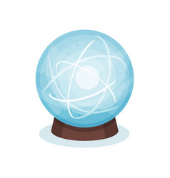 Blue magic ball on wooden stand glass sphere with vector