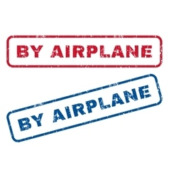 By airplane rubber stamps vector