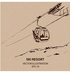 Cableway in the mountain resort vector