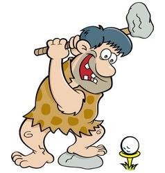 Cartoon caveman playing golf vector image vector image