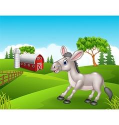 Cartoon funny donkey in the farm vector