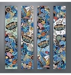 Cartoon marine nautical banners vector image