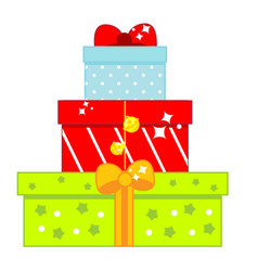 christmas and new year gift boxes isolated icon vector image